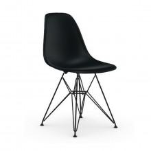 Vitra -  Eames Plastic Chair DSR (nuova altezza) scocca basic dark e basamento basic dark verniciato a polvere.