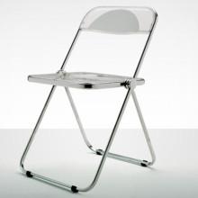Castelli - Plia sedia acciaio lucido, plastica trasparente.